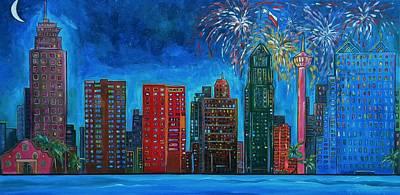 Fireworks Painting - River City Skyline by Patti Schermerhorn