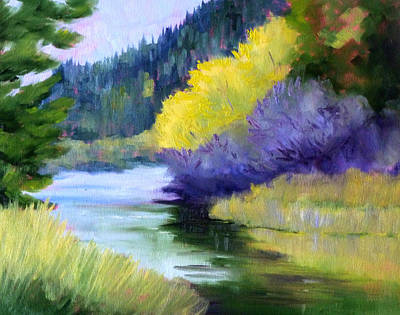 Reflecting Water Painting - River Color by Nancy Merkle