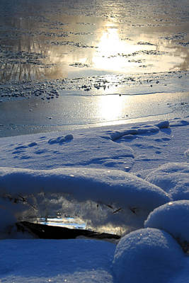 Reflections In River Photograph - River Ice by Hanne Lore Koehler