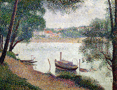 Arbres Painting - River Landscape With A Boat by Georges Pierre Seurat