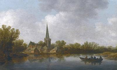 Rowing Painting - River Landscape With A Village by Celestial Images