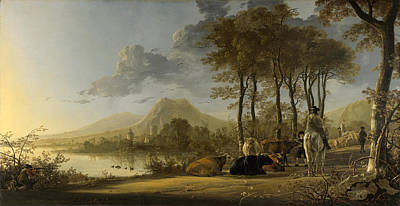 Aelbert Cuyp Painting - River Landscape With Horseman And Peasants by Aelbert Cuyp