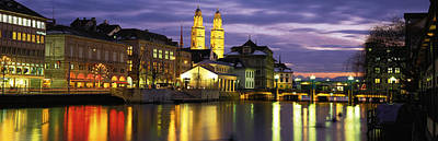 Downtown Stairs Photograph - River Limmat Zurich Switzerland by Panoramic Images