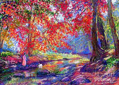 Park Scene Painting - River Of Life, Colors Of Fall by Jane Small
