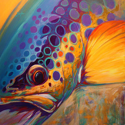 Trout Painting - River Orchid - Brown Trout by Savlen Art