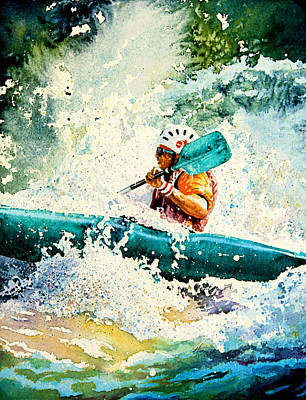 Action Sports Art Painting - River Rocket by Hanne Lore Koehler