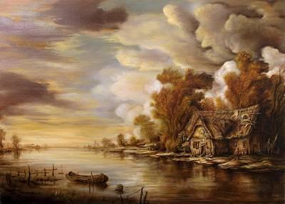 Tablou Painting - River Scene 3 by Dan Scurtu
