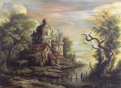 Tablou Painting - River Scene 5 by Dan Scurtu
