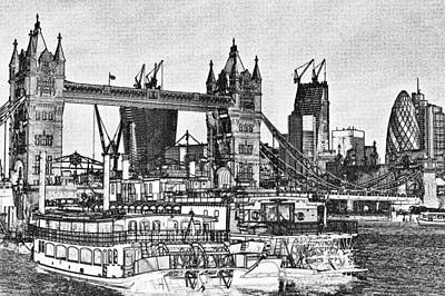 Tower Of London Digital Art - River Thames Sketch by David Pyatt