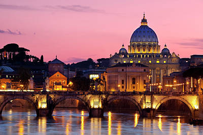 Vatican Photograph - River Tiber, Ponte Sant Angelo And St by Brian Jannsen