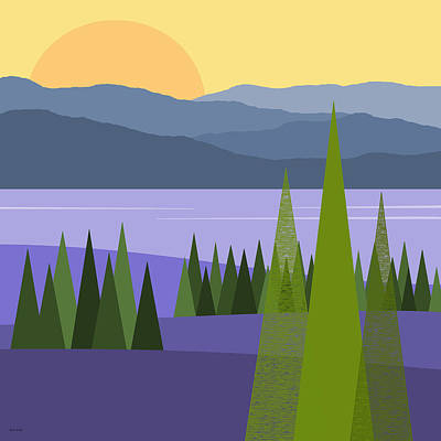 River Valley Sunrise - Sunrise Print by Val Arie