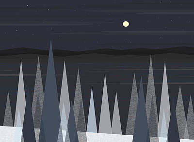 River Valley Winter Night Print by Val Arie