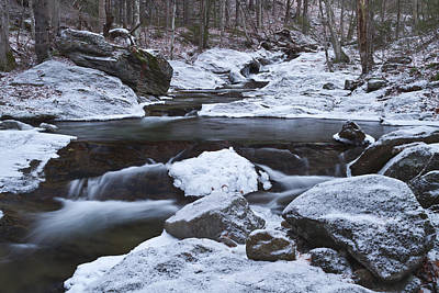 River-vermont-first Snow-forest-waterfall-trees Print by Andy Gimino