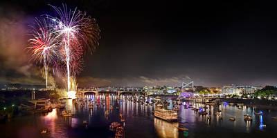 Riverbend Fireworks Print by Steven Llorca