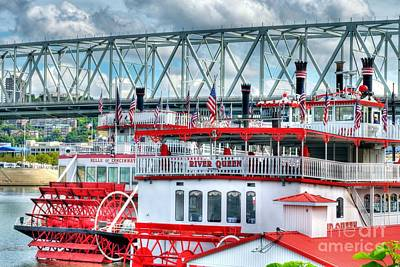 White River Scene Photograph - Riverboats Of Cincinnati by Mel Steinhauer