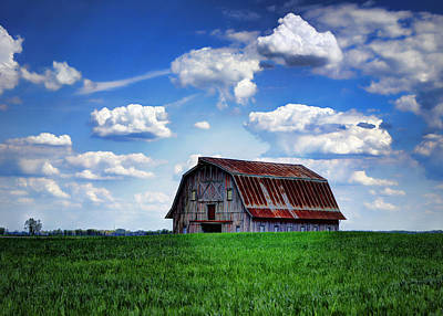 Cumulus Photograph - Riverbottom Barn Against The Sky by Cricket Hackmann