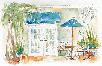 Riverside Courtyard Original by Pat Katz