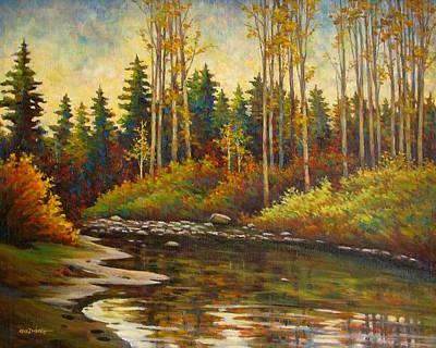 Orange Painting - Riverside by Guo Quan Zheng