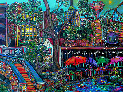 Historical Buildings Painting - Riverwalk by Patti Schermerhorn