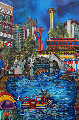 Water Tower Painting - Riverwalk View by Patti Schermerhorn