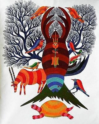 Gond Art Painting - Rkt 11 by Ravi Kumar Tekam