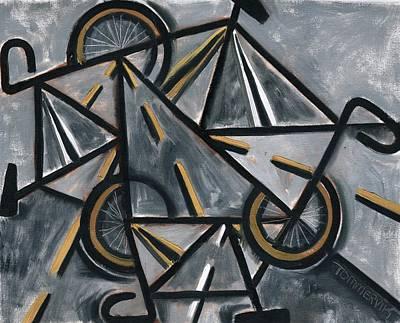 Biking Painting - Road Bikes Art Print by Tommervik
