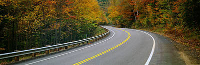 New Hampshire Autumn Photograph - Road Passing Through A Forest, Winding by Panoramic Images