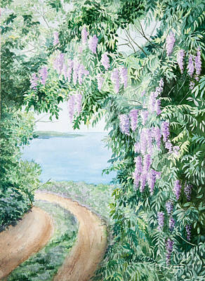 Watercolor Wisteria Painting - Road To Paradise by Michelle Wiarda