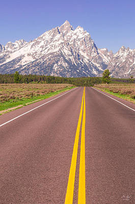 Digital Altered Photograph - Road To The Tetons by Aaron Spong