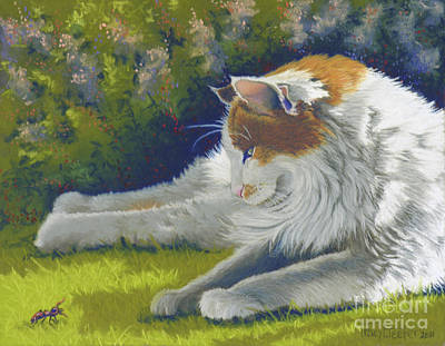 Turkish Van Cat Pastel - Roadblock - Cat And Bug by Tracy L Teeter