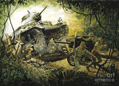 Roadblock On The Road To Bataan Print by Pg Reproductions