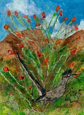 Roadrunner Painting - Roadrunner And Ocotillo by Elaine Elliott