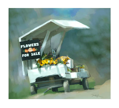 Farm Stand Painting - Roadside Flower Stand by Bob Salo