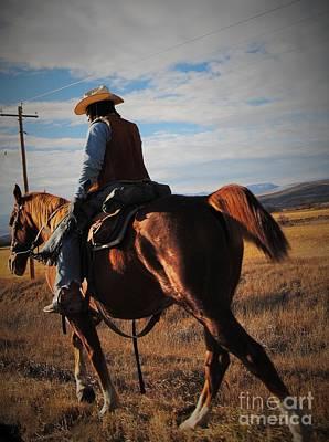 Cattle Drive Digital Art - Roadside Rancher by J Bern Hunt