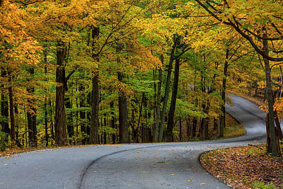 Roadway In Autumn In Brown County State Print by Chuck Haney