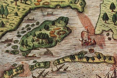 Roanoke Island 1585 Print by Photo Researchers