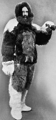 Robert E. Peary In Fur Print by Underwood Archives
