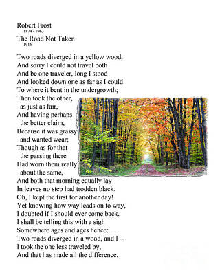 Robert Frost - The Road Not Taken Print by Ed Churchill