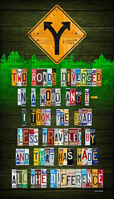 Robert Frost The Road Not Taken Poem Recycled License Plate Lettering Art Print by Design Turnpike