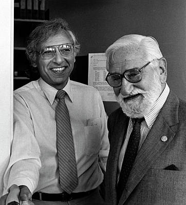 Robert Gallo And Albert Sabin Print by National Cancer Institute