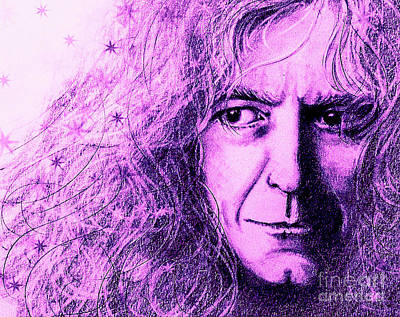 Jimmy Page Drawing - Robert Plant Purple by Patrice Torrillo