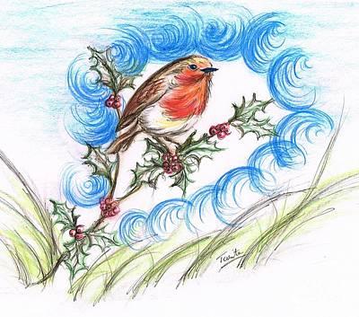 Blueish Mixed Media - Robin's  Berry Treat by Teresa White
