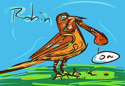 Michigan State Drawing - Robin by Brett LaGue