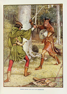 Robin Hood And Guy Of Gisborne Print by British Library