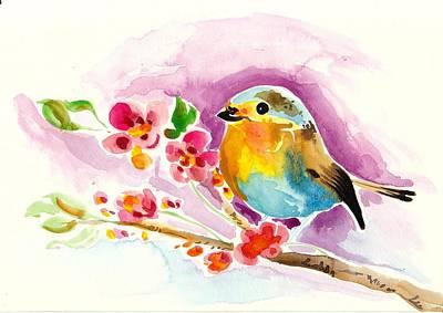 Robin In Flowers Print by Tiberiu Soos