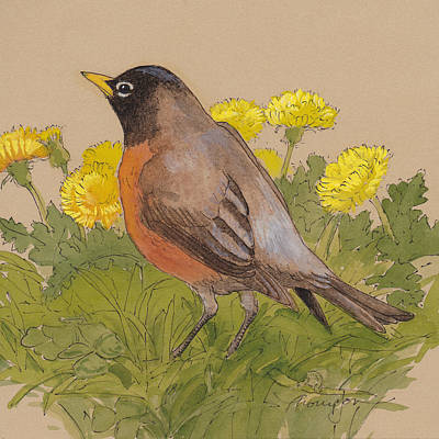 Robin Mixed Media - Robin In The Dandelions by Tracie Thompson
