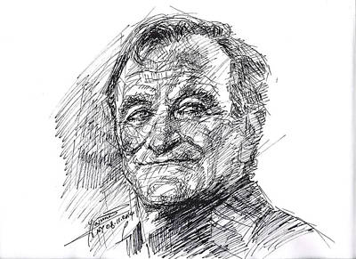 Movie Star Drawing - Robin Williams by Ylli Haruni