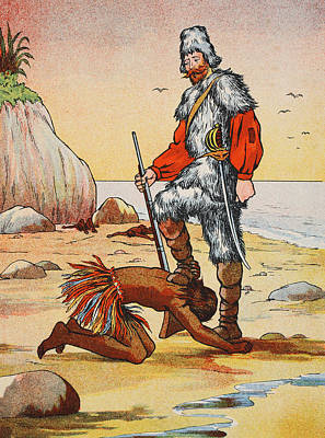 Robinson Crusoe And Friday Print by English School
