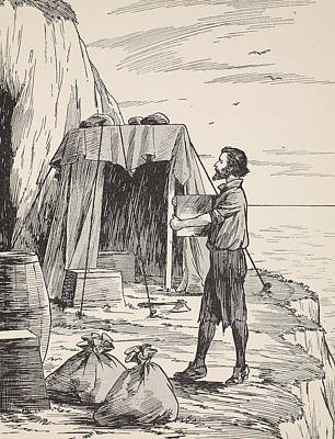 Robinson Crusoe Building His Shelter Print by English School