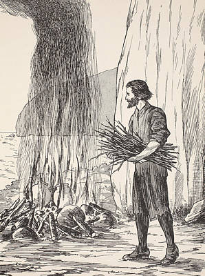 Robinson Crusoe Cooking Print by English School